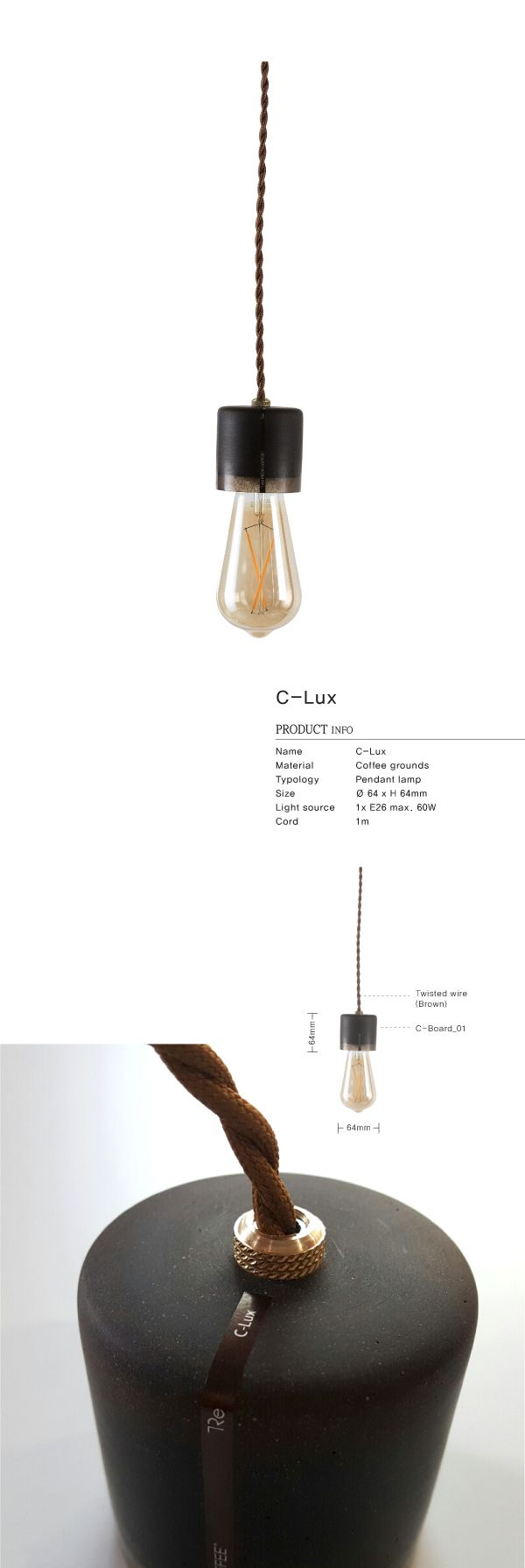 Coffee grounds upcycle product / This C-Lux is made locally using recycled 7 cups coffee grounds / Pendant lamp