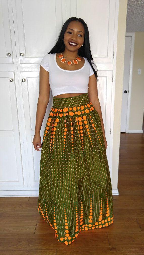 Ankara maxi skirt Greenish skirt African print maxi by Oludan