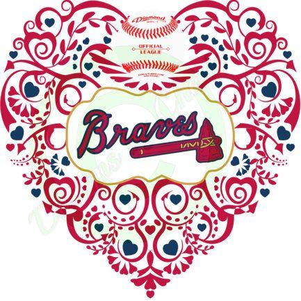 Atlanta Braves  Baseball Ornate Heart