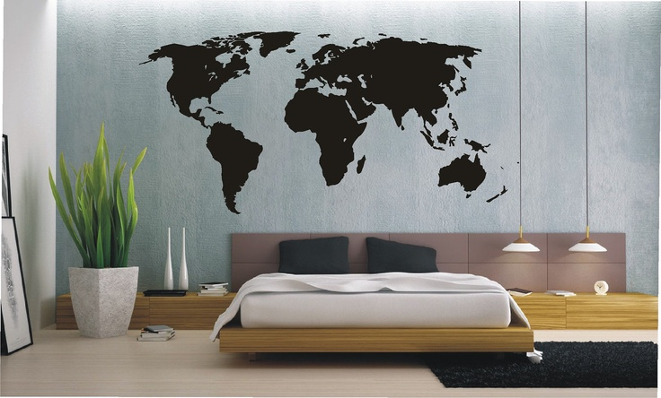 EXTRA LARGE World Map Wall Sticker, Vinyl Decal, Wall Tattoo