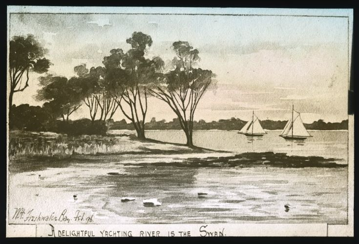 090016PD: Lantern slide of a painting of a sailboat on Freshwater Bay, Western Australia, February 1896.  http://encore.slwa.wa.gov.au/iii/encore/record/C__Rb4882737__S090016PD__Orightresult__U__X3?lang=eng&suite=def