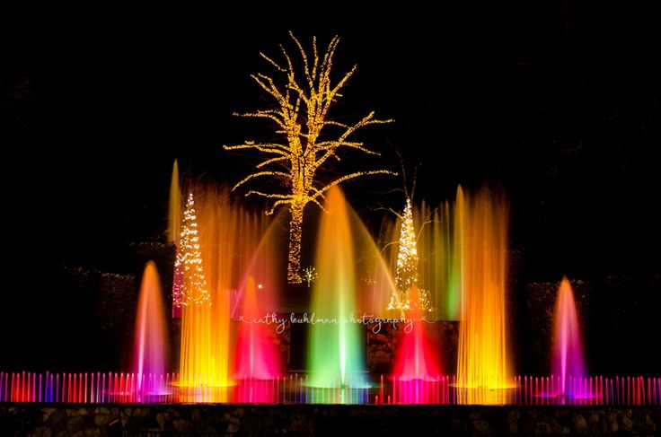 Colored fountains at Longwood Gardens by Cathy Kuhlman