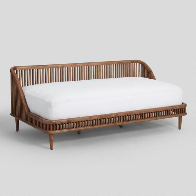 Nadya Daybed - warm brown mango wood  - shown w/ too big twin mattress (the back should be taller to support pillows for a back rest)