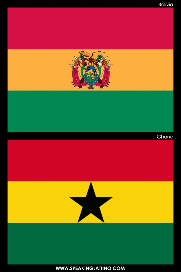 Hispanic Flags With Similar Flags from Around the World: BOLIVIA AND GHANA. Read more about it here: http://www.speakinglatino.com/hispanic-flags-with-similar-flags/ #Bolivia #Flag #Bandera