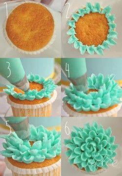 Flower cupcake....easier said than done!