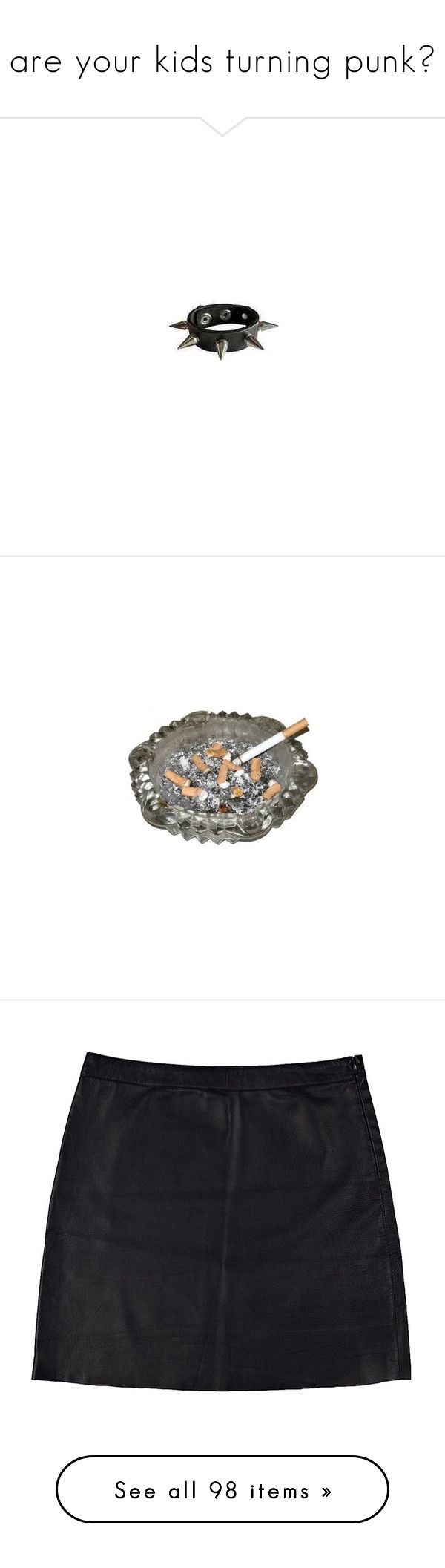 """""""are your kids turning punk?"""" by saarin ❤ liked on Polyvore featuring jewelry, bracelets, accessories, spikes jewelry, skull jewelry, skull bangle, skull jewellery, spike bangle, fillers and cigarettes"""
