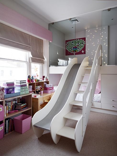 cool girl bedroom designs. a ladder and slide in the room that goes up into little step up, play room. this is bedroom or playroom for kids if you take pink away cool girl designs e
