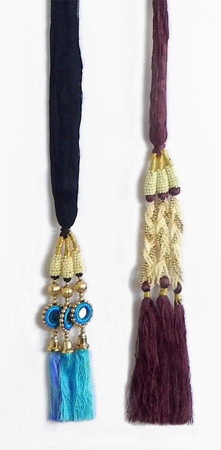 A Pair of Parandi - For Hair Braids with Cyan Blue and Maroon Tassels (Thread)
