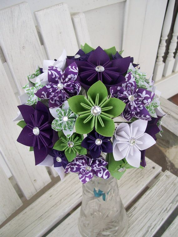 Custom Paper Flower Bridal Bouquet and Boutonniere by PoshStudios, $160.00