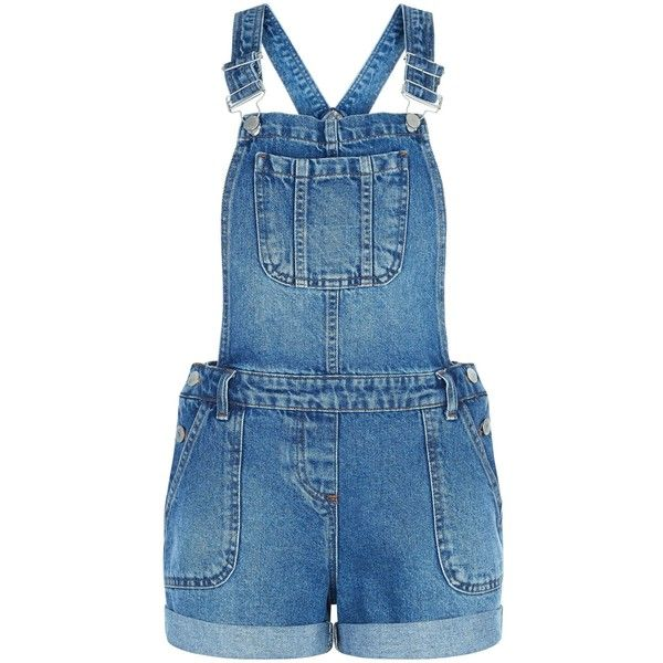 New Look Blue Turn Up Denim Short Dungarees (£25) ❤ liked on Polyvore featuring jumpsuits, rompers, blue, blue rompers, denim rompers and short rompers
