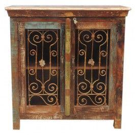 Reclaimed Timber Antique metal Panel Jali Sideboard 85cm