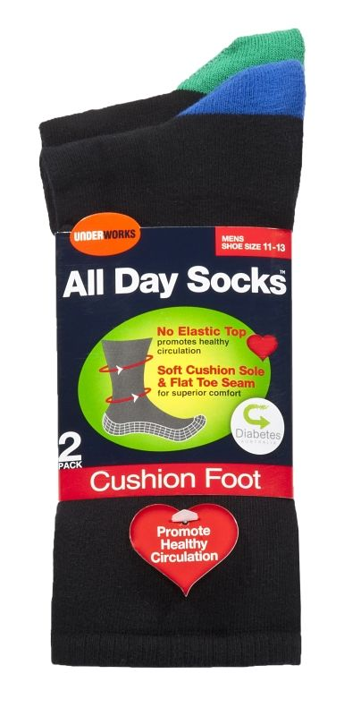 Socks - Mens all day blue green diabetic, cushioned (6 pr), Assistive Style $40