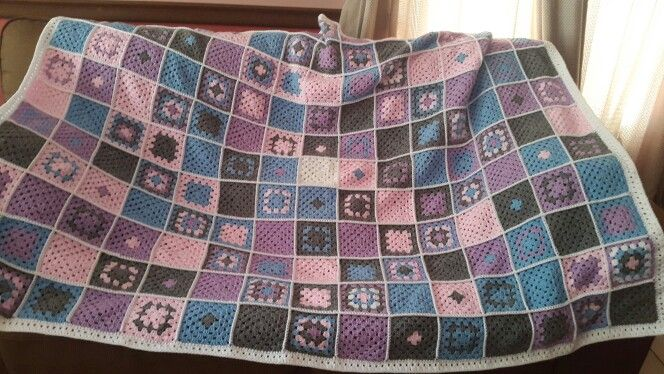 Pink blue and grey afghan