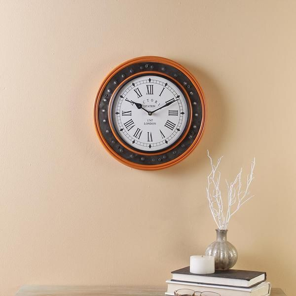 Everdene Orange 11 Wall Clock Vintage Clock Clock Handmade Clocks