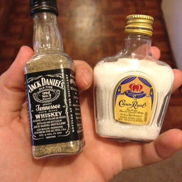 Salt and pepper shakers. I want!!! (the Jack Daniel's reminds me of a weird dream I had...)