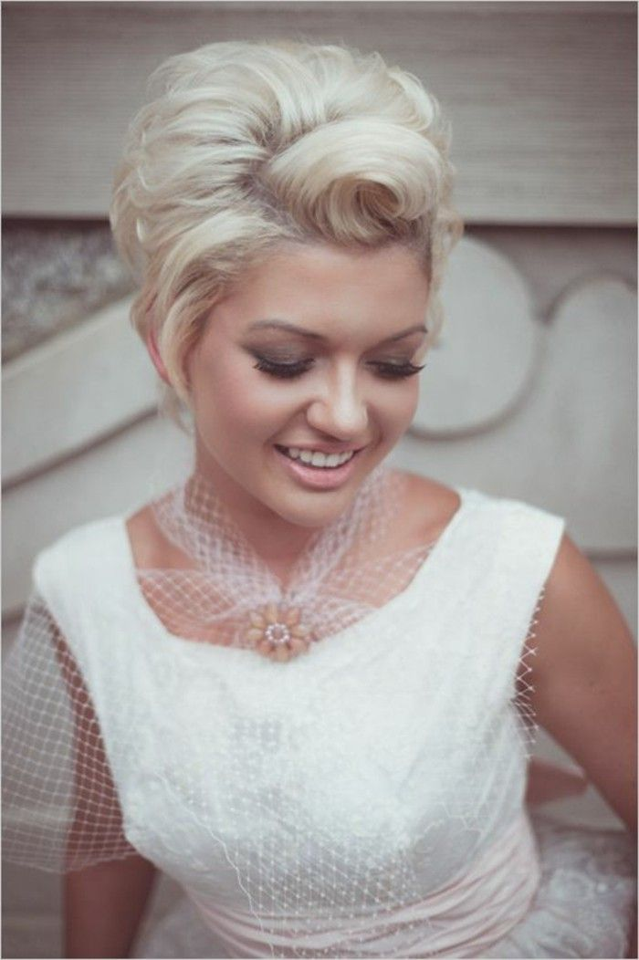 The 25 best short platinum hair ideas on pinterest white blonde happy smiling woman with short platinum hair styled with victory rolls dark smoky eye urmus Gallery