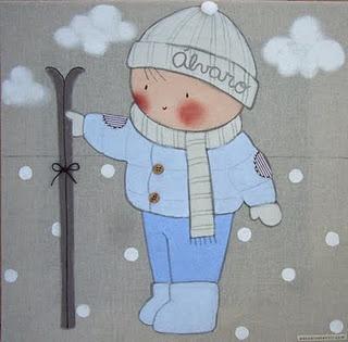 Cuadro infantil personalizado niño esquiando