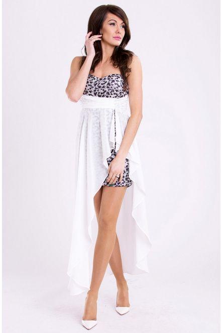 Dámské společenské šaty s flitry a asymetrickou sukní EVA LOLA bílé
