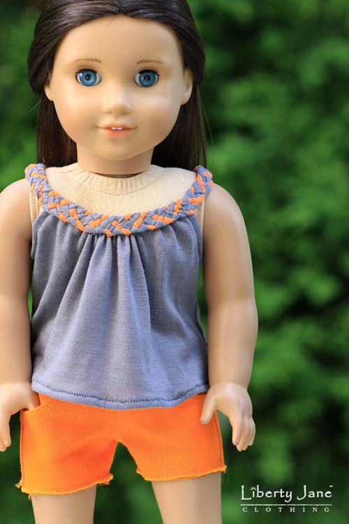 Cute Summer Style. Orange and Grey color combo now available. Braided tank top and cut offs for American Girl Dolls.