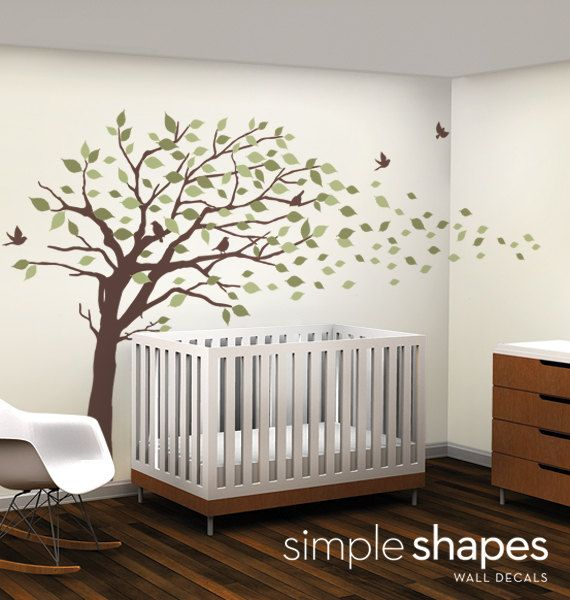 All in white. Vinyl Wall Art Decal Sticker - Blowing Leaves Tree - LARGE. $129.00, via Etsy.