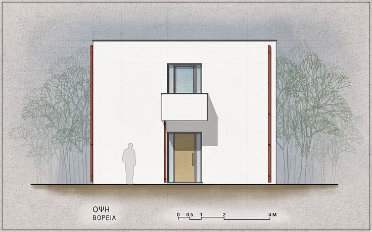 Standardised One-Family House Prototype 130 sqm, North Elevation - www.pzarch.gr