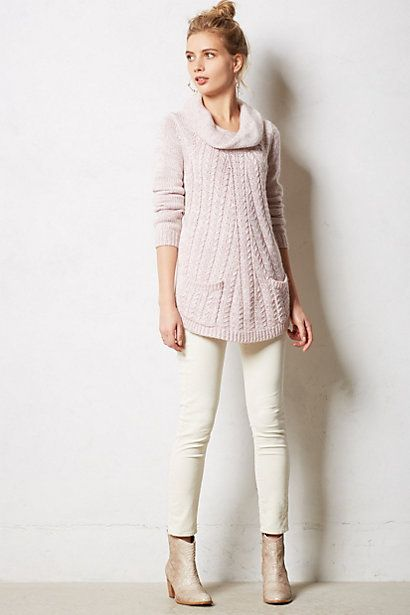 Cabled Cowl Pullover in pink -- Anthropologie ($128)
