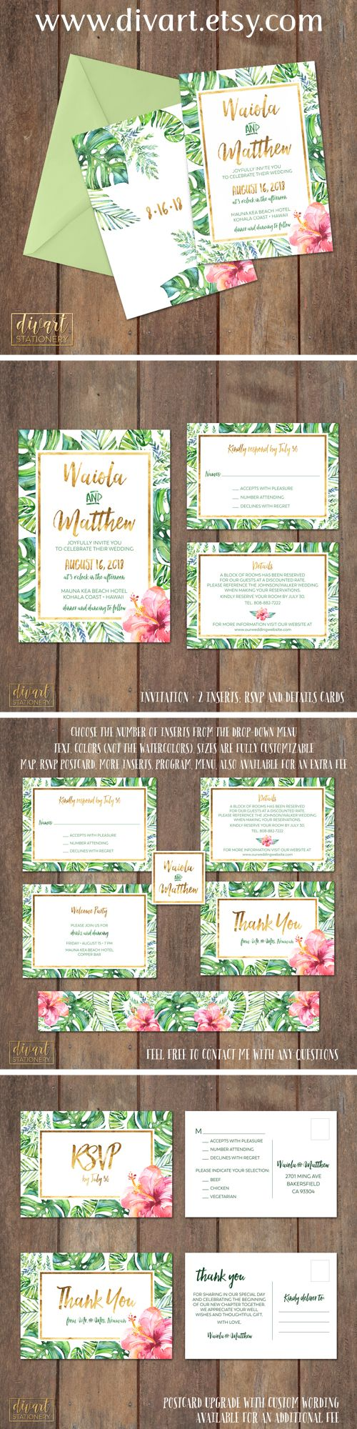 how to write muslim wedding invitation card%0A Wedding invitations with palm leaves and hibiscus  Printable Wedding  Invitation Suite  I design you