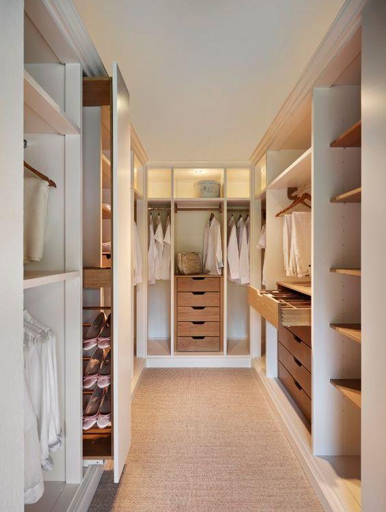Contemporary Closet With Built In Bookshelf, Carpet, Crown Molding,  California Closets Walk In Closet Custom Cabinetry