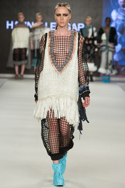 Outfit 6 - Woven Cling film, weave, fishing net and textiles with paper clips