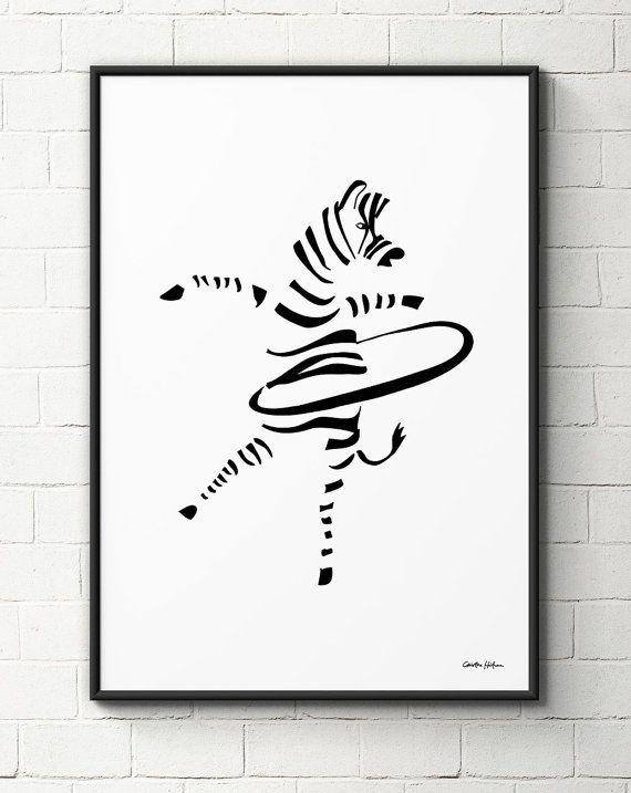 Hula-Hoop Zebra A3 print by Christina Heitmann n.
