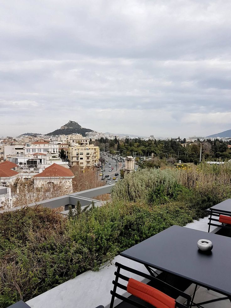 The rooftop offers a panoramic view to Athens