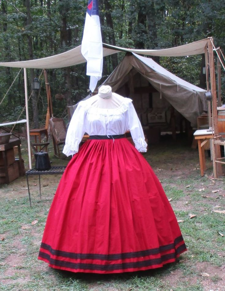 CIVIL WAR DRESS~VICTORIAN STYLE 100% COTTON SOLID BRICK RED SKIRT~BLACK LACE #Handmade #Dress