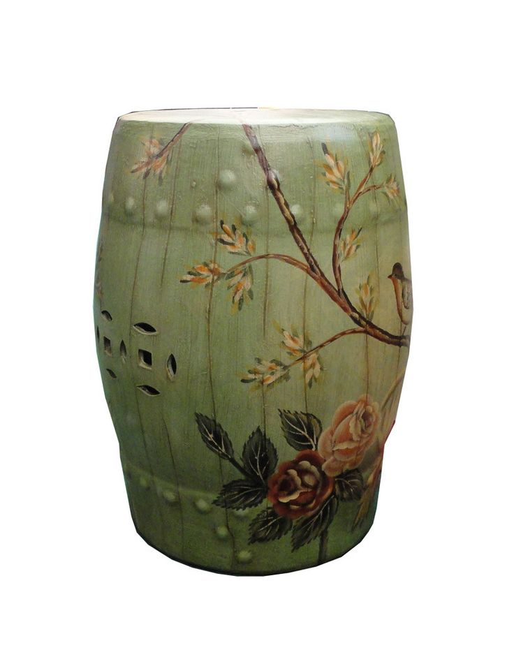 Green Porcelain Barrel Shape Round Stool Ottoman