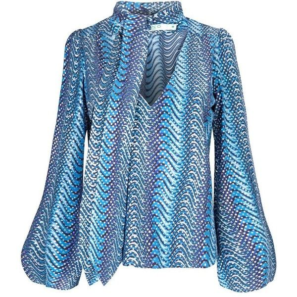 RIXO London Kate Silk Blouse - Blue Psych Wave ($270) ❤ liked on Polyvore featuring tops, blouses, blue psych wave, silk blouse, sequin blouse, print blouse, long sleeve silk blouse and long sleeve tops