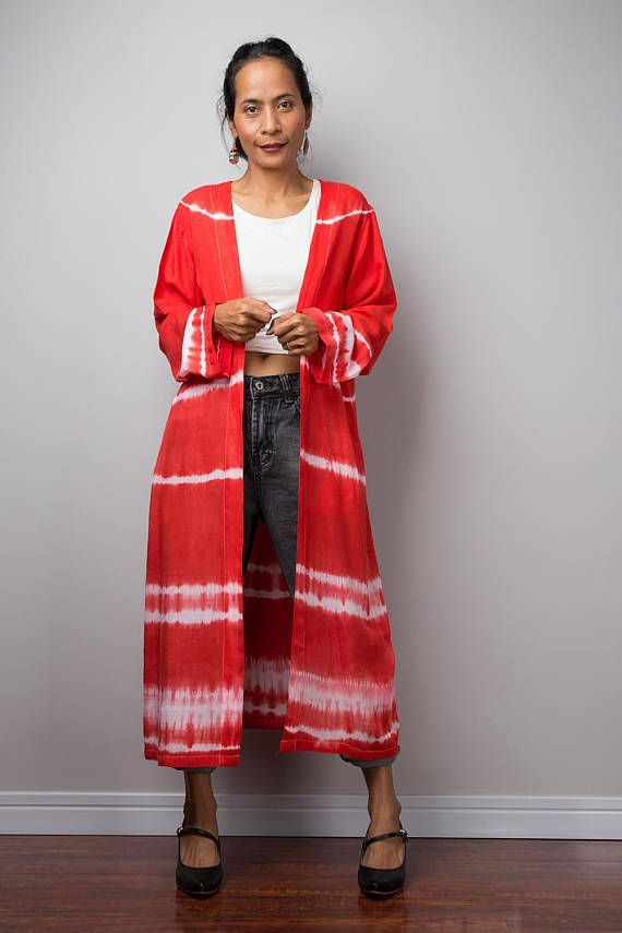 ee1c631fafe Red Cardigan Duster vest Summer Vest Red and white duster