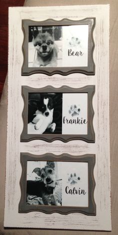 Framed paw print art. Frame is from Hobby Lobby and I used kid-friendly, non-toxic ink to stamp their paws. Clean them up after with baby wipes :) #DIY #pawprints #dogs