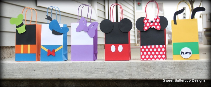 Mickey Mouse Club House Party Goody Bags. $20.00, via Etsy.  --   Here is an idea on how to paint the letters in the grandbaby's name.