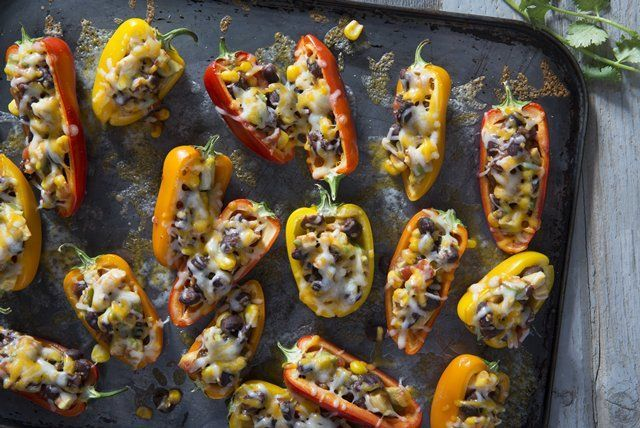 Stuffed with a flavorful mixture of avocados, beans, corn and salsa, these mini stuffed peppers make the perfect addition to any appetizer buffet.