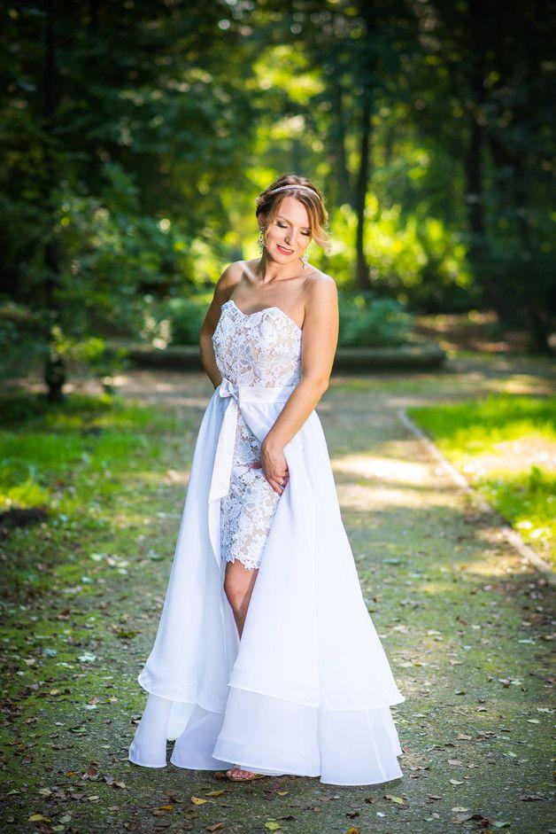 Sukienka ślubna biała gipiura Jemina JORDJA - jordja - Suknie ślubne