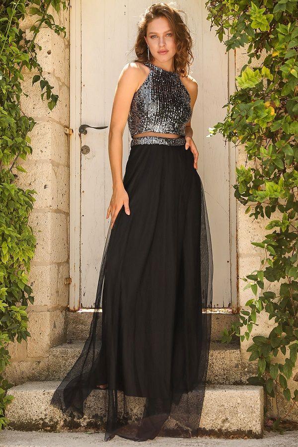 فستان سهرة أسود بجزء علوي بترتر فضي Fashion Style Product Description
