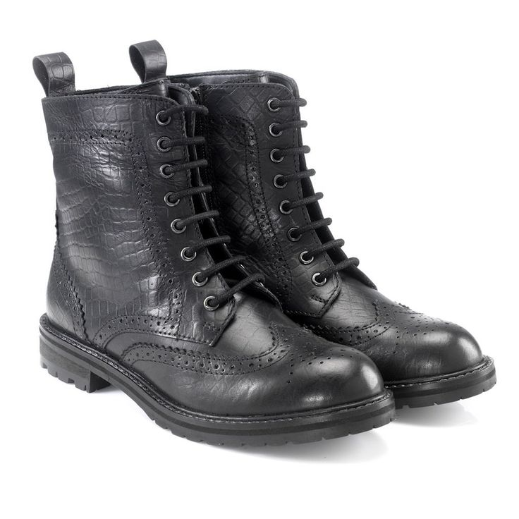 Hera Combat Boots (Croco Print)