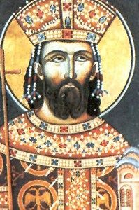 Portrait of Prince Lazar in the Ravanica Monastery (1380s)-In the Battle of Kosovo fought on 15 June 1389, Lazar led the army which confronted a massive invading army of the Ottoman Empire commanded by Sultan Murad I. Both Prince Lazar and Sultan Murad lost their lives in the battle. Although the battle was tactically inconclusive, the mutual heavy losses were devastating only for the Serbs.