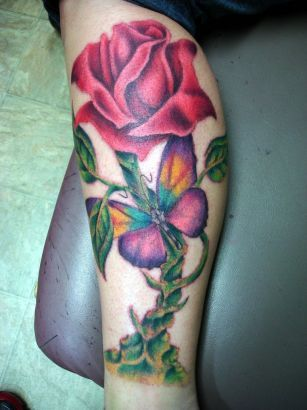 Rose And Butterfly Tattoo Pic