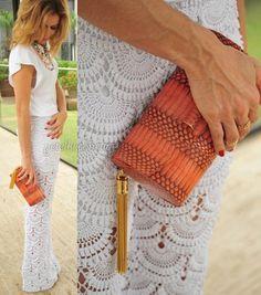 Malha chiques calças openwork crochê por Giovanna Diaz.  Esquemas