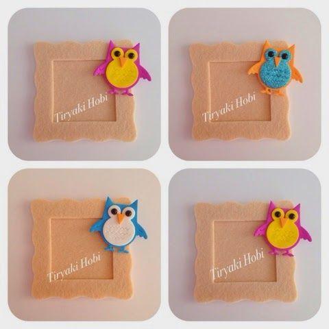 felt frames - owl / keçe çerçeve magnet - baykuş