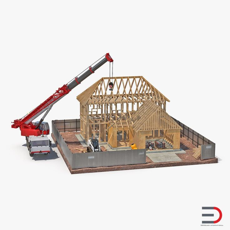 Private House Construction 2 with Equipment 3D model