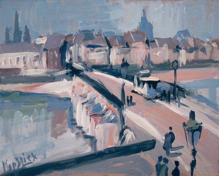 Old bridge, long time ago. Maastricht, acryl on carton