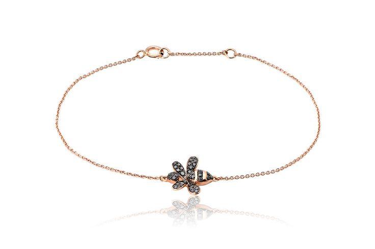 Bee Brecelet Βραχιόλι Μελισσούλα με μαύρα διαμάντια μπριγιάν κοπής 0,23CT σε ροζ χρυσό 18Κ. Price : 500 €
