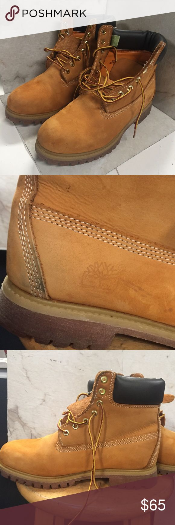 Men's 9 Women's 11 Wheat Timberland Boots Classic - visible signs of wear (Pictured)// most noticeable on Inner Side of left Shoe. Soles are in excellent condition. (Listed 4/27/17)  😊Private Offers Considered on older inventory.    😊Like this item for pricing updates (Price Lowers On OLDER inventory)    😊Items ship ASAP   😊Questions asked after 6pm Or on Sunday will be delayed but feel free to ask!   😊Save 15% by purchasing more than one item! Timberland Shoes Boots