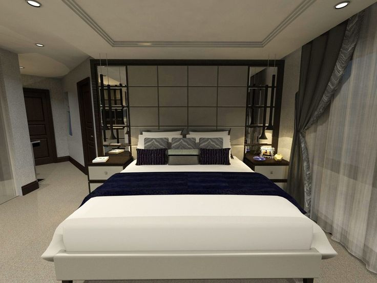 Calm Bedroom Interior with Hidden Ceiling Lights and White